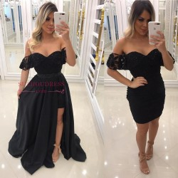 Newest Sheath Black Off-the-Shoulder Crystal Prom Dresses with Detachable Skirt BA7540_Prom Dres ...