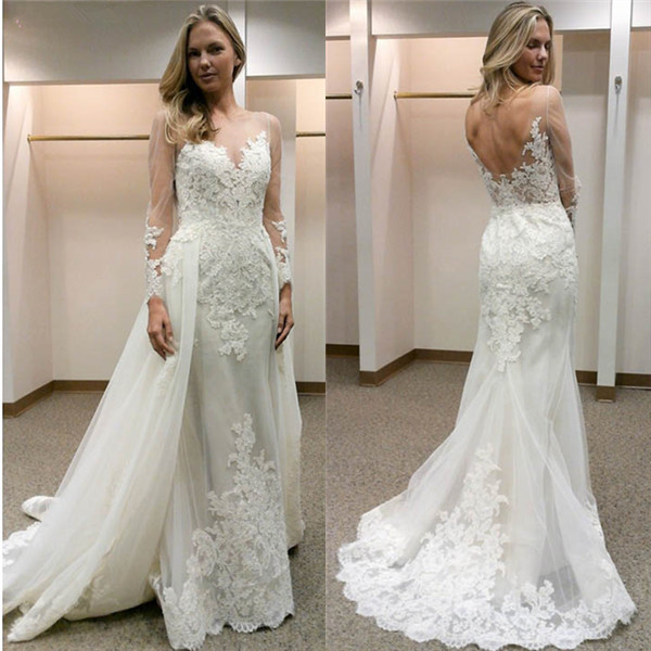Open-Back Simple Appliques Sheath Long-Sleeves Tulle Wedding Dress_2018 Wedding Dresses_Wedding  ...