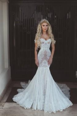 Günstig Hochzeitskleider Weiß Mit Spitze Meerjungfrau Herz Ausschnitt Brautkleider Online