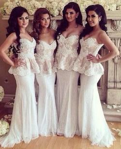 Weiß Brautjungfernkleider Lang Spitze Herz Meerjungfrau Kleider Hochzeit Brautjungfern