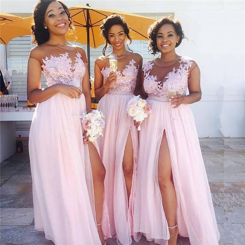 Pink Lace Chiffon Sexy Bridesmaid Dresses 2018 Splits Long Dress for Maid of Honor Online BA6919 ...
