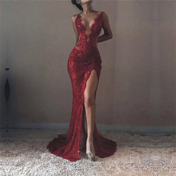 2018 Sexy V-neck Sleeveless Formal Evening Dresses Front-Split Lace Mermaid Prom Dress BA6811_Ev ...