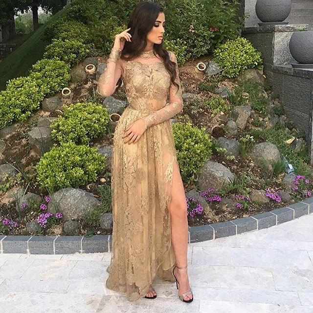 Side-Slit Appliques Sexy High-Neck Long-Sleeves Tulle Gold Prom Dresses_Prom Dresses_2018 Specia ...