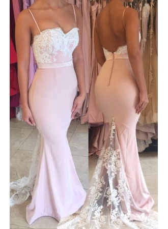 Spaghetti Straps Lace Mermaid Evening Dress Open Back Buttons Cheap Formal Dress BA6562_Evening  ...