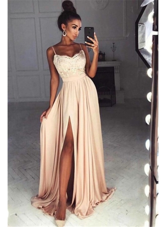 Straps Front Slit Sexy Prom Dress Lace Cheap Champagne Long Evening Dress 2017 BA7097_Prom Dress ...
