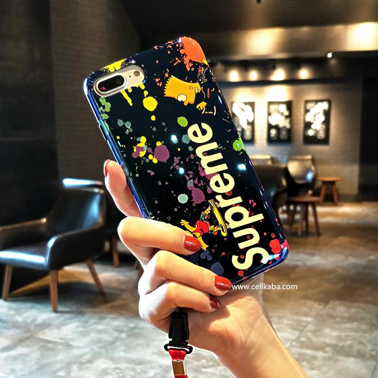 シュプリーム コラボ シンプソンズ アイフォンXカバー 可愛い iphone8ケース ペア iphone7 plus カバー