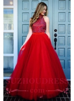 Glamorous Red A-line High Neck Evening Dresses 2018 Crystal Sleeveless Tulle Prom Dresses_Prom D ...
