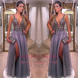 Gorgeous V-Neck A-line Prom Dresses 2018 Sleeveless Crystal Side Slit Evening Dresses_Prom Dress ...