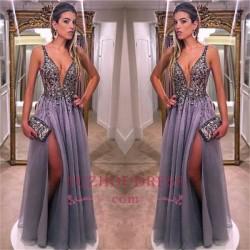 Gorgeous V-Neck A-line Prom Dresses 2018 Sleeveless Crystal Side Slit Evening Dresses_Prom Dress ...