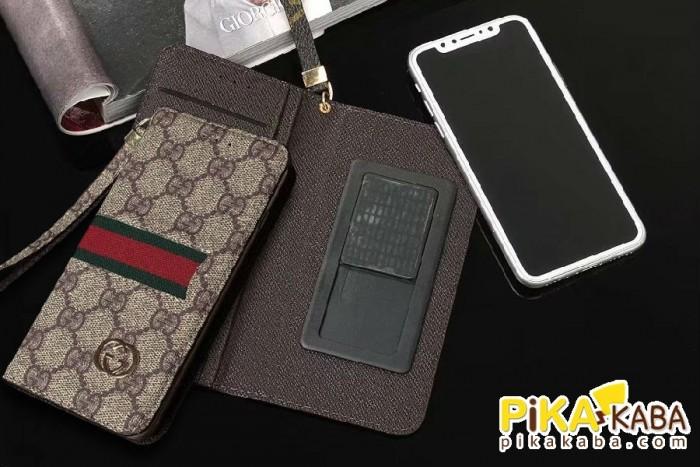 ビジネス風 グッチ iPhone X Plusケース Galaxy Note8カバー 手帳 粘着タイプ