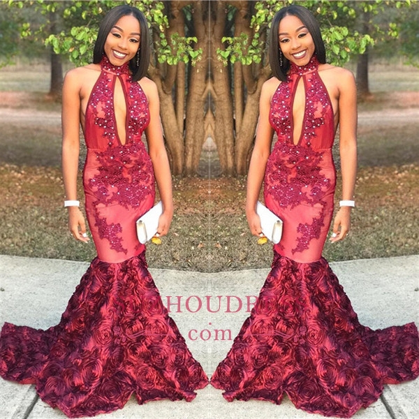 New Arrival Mermaid High Neck Prom Dresses Appliques Evening Gowns with Beadings_Prom Dresses_20 ...