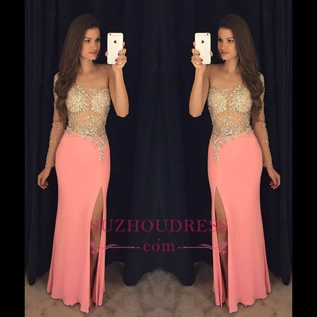 Sexy Sheath One Shoulder Crystal Prom Dresses 2018 Side Slit Evening Gowns_Prom Dresses_2018 Spe ...
