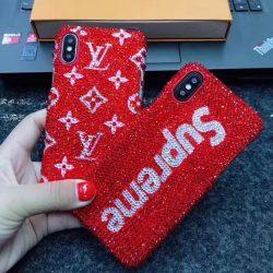 シュプリーム ヴィトン iPhoneXケース アイフォン8/7プラスカバー キラキラ かわいい