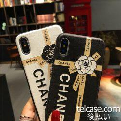 彩绘 シャネル iPhone8/x 可愛いケース ツバキ カメリア 花柄 CHANEL iphone7/6ケース 浮き彫り