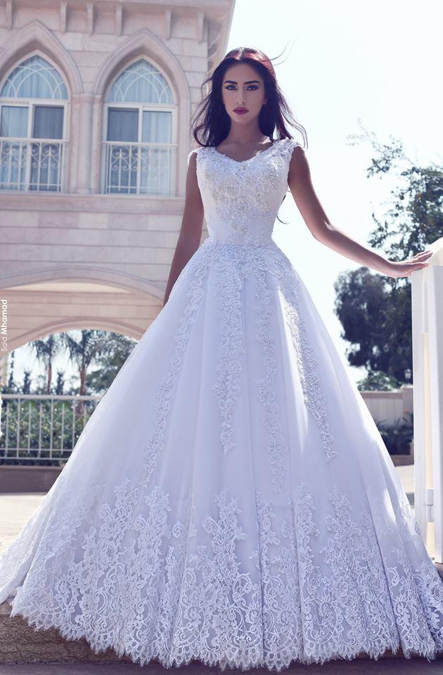 Weiß Brautkleider Lang Ärmel Spitze A Linie Tüll Brautmoden Hochzeitskleider