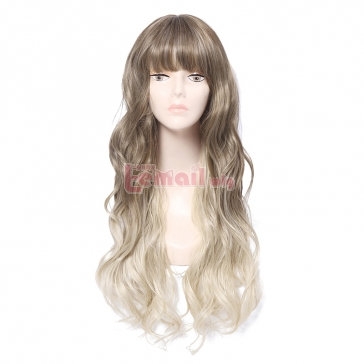 Synthetic Fashion Hair Wigs Brown mixed Beige Long Curly Wigs for Women with Bangs – L-ema ...
