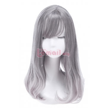 women medium long grey fashion wigs – L-email Cosplay Wig