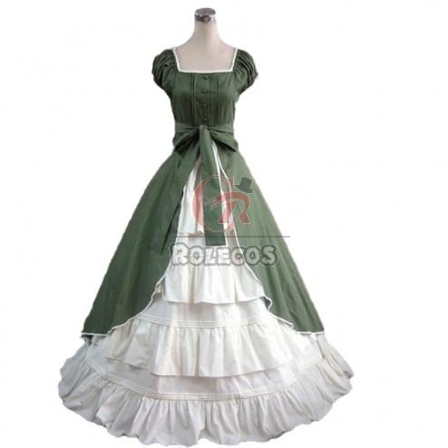 Womens Medieval Renaissance Costume Dress Victorian Lolita Sleeveless Long Dress
