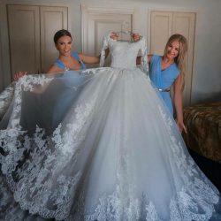 Design Brautkleider Lang Ärmel Mit Spitze A Line Hochzeitskleider Online Günstig