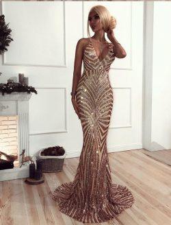 Luxury Goldene Abendkleider Pailleten Günstige Abiballkleider Lang Online