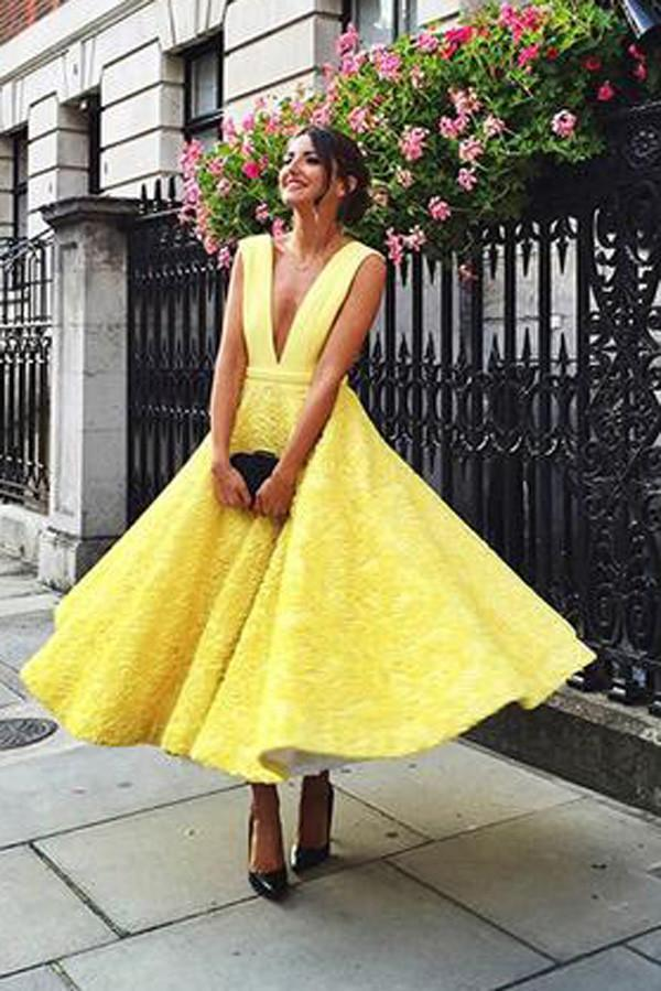 Yellow V-neck Homecoming Dress
