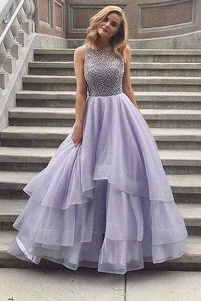 A Line Boat Prom Dress,Layers Tulle Appliques Beading Evening Dress – Ombreprom