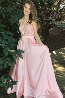 A Line Brush Train Halter Deep V Neck Sleeveless Appliques Prom Dress – Ombreprom