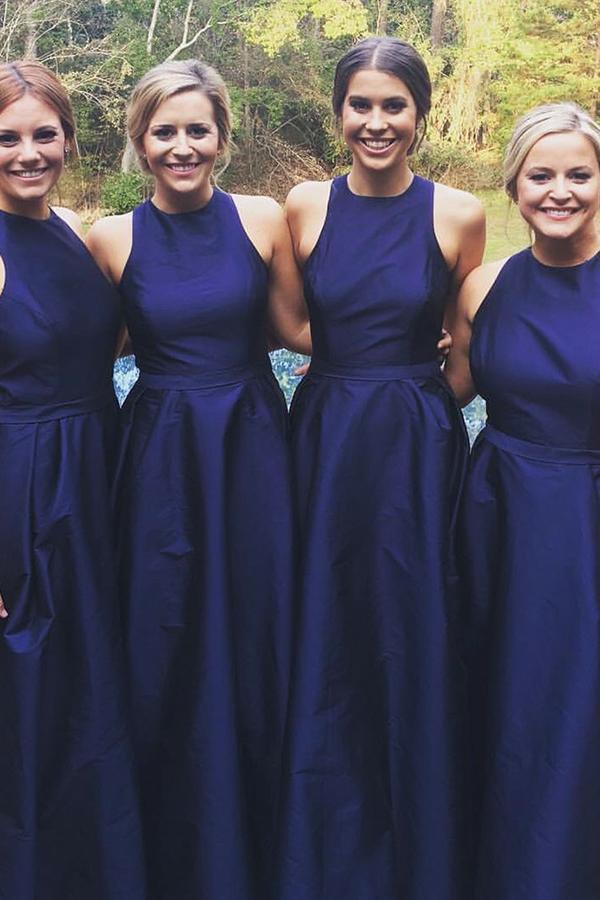 Blue A Line Asymmetrical Sleeveless Bridesmaid Dress, Wedding Party Dress – Ombreprom