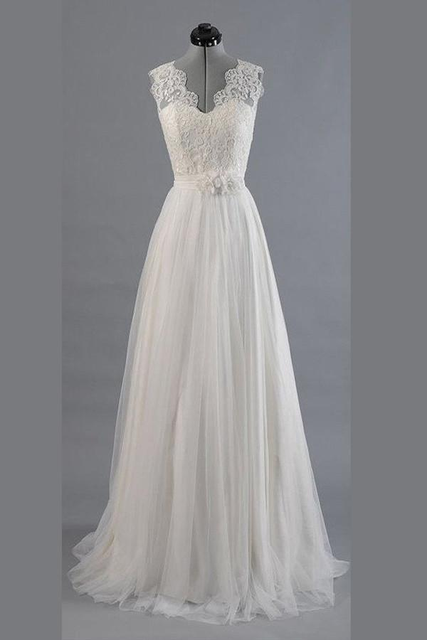 Charming Appliques Lace Top V Neck Sweep Train Beach Wedding Dress – Ombreprom