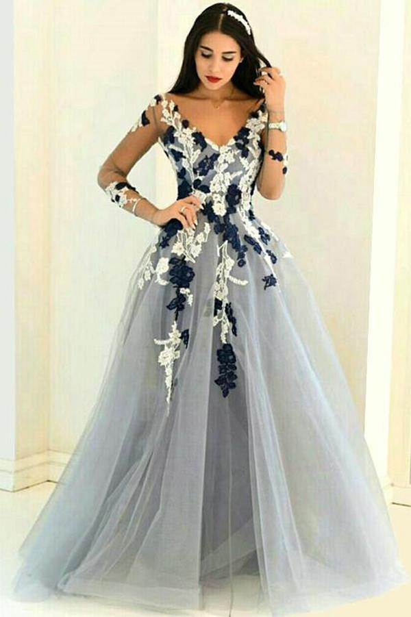 Gray Organza V Neck Prom Gown,A-line Long Prom Dresses,Formal Dresses,Prom Dresses