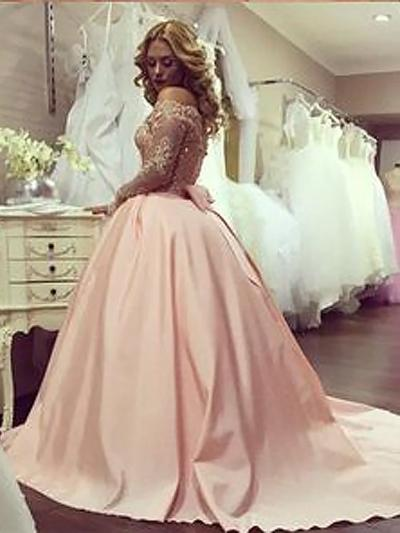 Shop Beading Ball Gown Long Sleeves Off-Shoulder Prom Dresses On Sale – Ombreprom