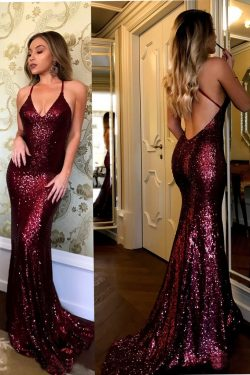 Charming Spaghetti Strap V-neck Burgundy Sequins Long Sexy Mermaid Prom Dresses – Okdresses