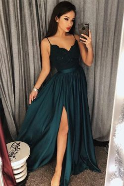 Dark Green Spaghetti Straps Split Lace Long Prom Dress – Okdresses