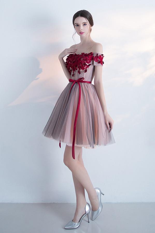 Elegant Off the shoulder Red Appliques A Line Homecoming Dress With Belt – Okdresses