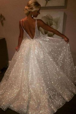 Sequins V-Neck Ivory Backless A-Line Sleeveless Elegant Plus Size Prom Dresses uk PH381