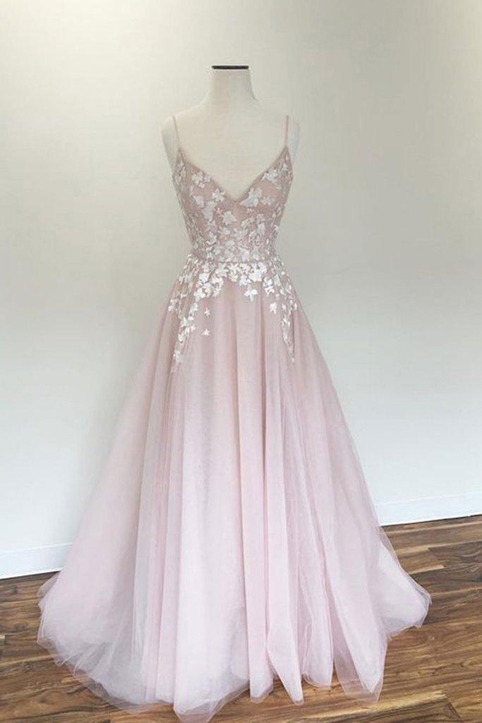 Light Pink V Neck Tulle Long Spaghetti Straps Appliques Prom Dress – Okdresses