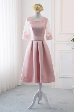 Pink Satin A Line Half Sleeves Lace Appliques Short Homecoming Dresses OKC4 – Okdresses