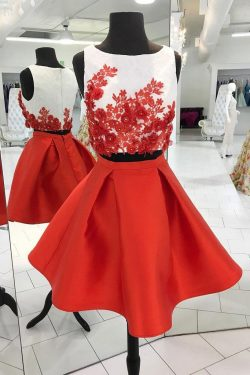 Red Short Two Piece A Line Homecoming Dresses,Graduation Dresses – Okdresses