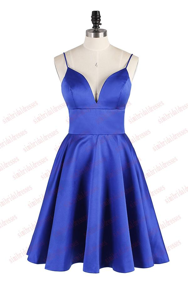 Simple Spaghetti Straps Royal Blue Short Homecoming Dress, A Line Satin Ruched Prom Dress – Simi ...