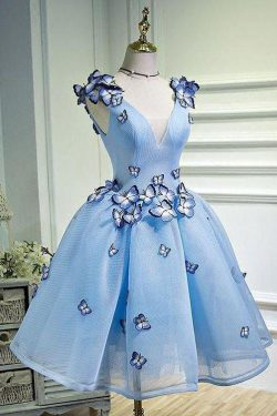 Sky Blue Butterfly Applique A Line V Neck Short Homecoming Dress – Okdresses