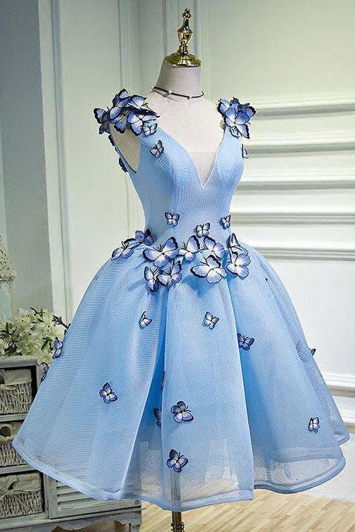 Sky Blue Butterfly Applique A Line V Neck Short Homecoming Dress – Okdresses