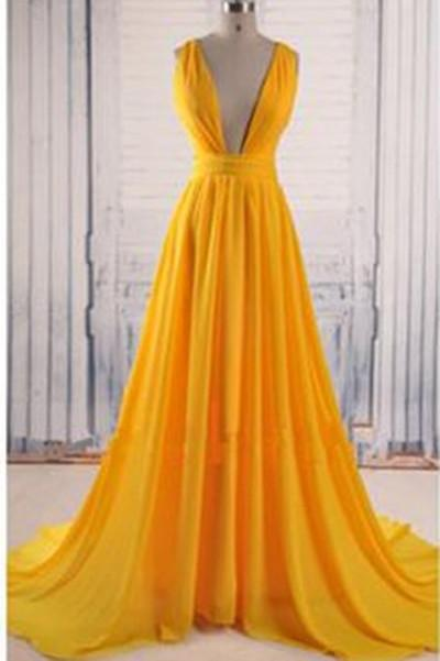Yellow A Line V Neck Criss Cross Back Chiffon Long Prom Dress – Okdresses