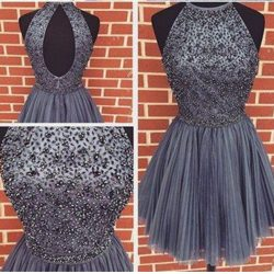 2019 New Homecoming Dresses Scoop Short/Mini Tulle With Pearls