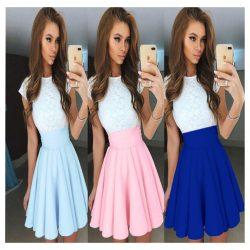 2018 Chiffon & Lace Scoop A Line Cocktail Dresses Short/Mini Zipper Up