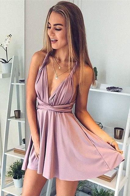 A-Line Deep V-Neck Sexy Homecoming Dresses,Short Summer Prom Dresses – Okdresses
