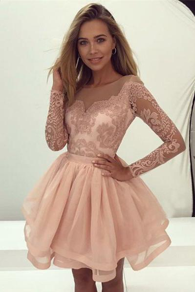 A-Line Long Sleeve Prom Gown,Pink Organza Short Homecoming Dress Lace – Okdresses