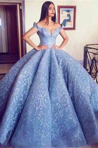 Blue Lace Off The Shoulder Ball Gown Quinceanera Dresses,Princess Prom Dress OKC91 – Okdresses