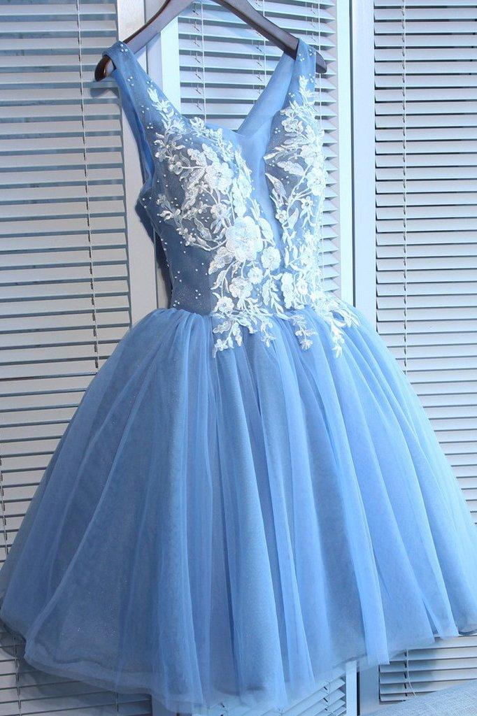 Blue Tulle A Line Lace Appliques Short Homecoming Dresses OKC51 – Okdresses
