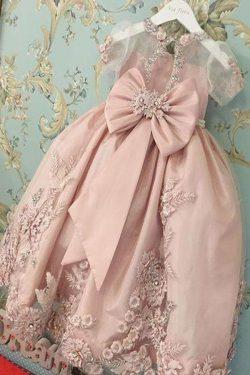 Blush Pink Short Sleeves Floor Length Appliqued Flower Girl Dress with Bow – Simibridaldress