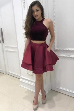 Cheap 2 Pieces Simple Short Burgundy Satin Homecoming Dresses For Teens OKD19 – Okdresses